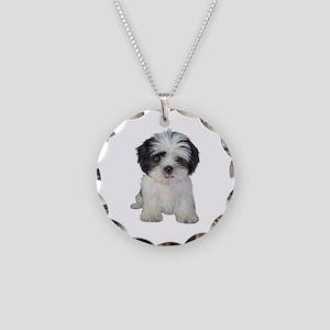 Shih Tzu (bw) pup Necklace Circle Charm