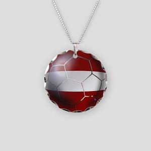 Latvia Football Necklace Circle Charm