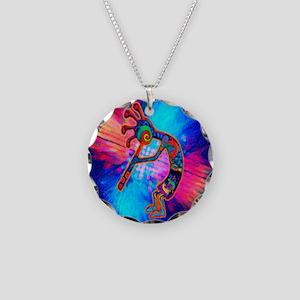 Rainbow Kokopelli 2 Necklace Circle Charm
