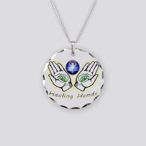Healing Hands Necklace Circle Charm