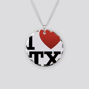 I Love TX Necklace Circle Charm
