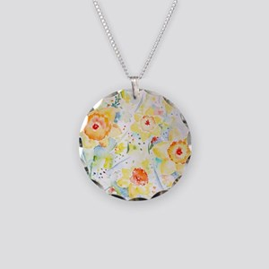 Watercolor Daffodils Pattern Necklace Circle Charm