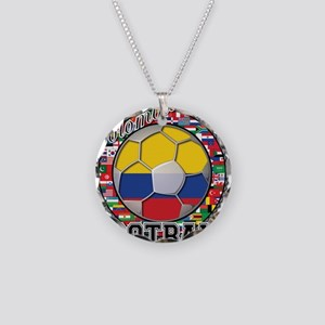 Colombia Flag World Cup Footb Necklace Circle Char