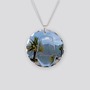 Mountains through the wine g Necklace Circle Charm