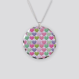 Gingham Hearts Pastel Patter Necklace Circle Charm