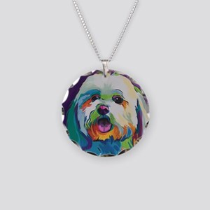 Dash the Pop Art Dog Necklace Circle Charm