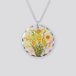 Watercolor Daffodils Yellow  Necklace Circle Charm