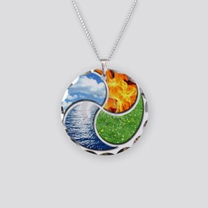 Four Elements Ying Yang Necklace Circle Charm