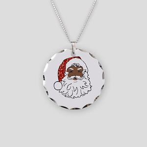 black santa claus Necklace Circle Charm