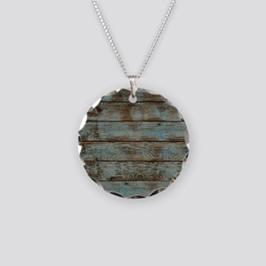 rustic western turquoise bar Necklace Circle Charm
