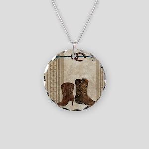 primitive western cowboy boo Necklace Circle Charm