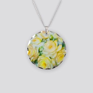 Shabby Chic Yellow Necklace Circle Charm