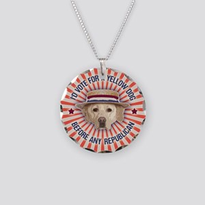 Yellow Dog II Necklace Circle Charm