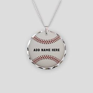 Baseball Name Customized Necklace Circle Charm