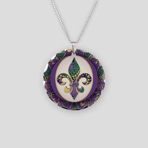 Fleur de lis Mardi Gras Beads Necklace Circle Char