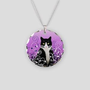 Tuxedo Cat on Lavender Necklace Circle Charm