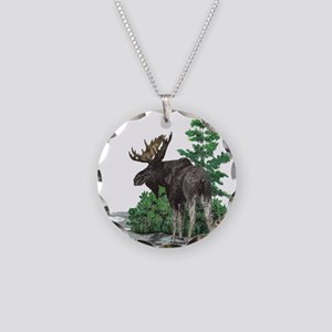 Bull moose art Necklace Circle Charm