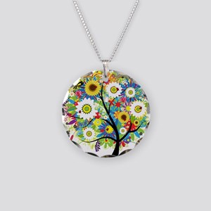 summer tree Necklace Circle Charm