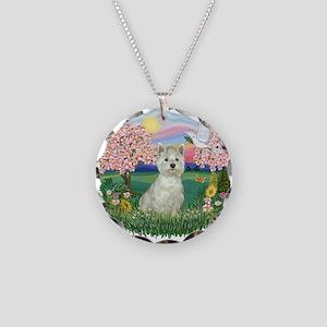 Blossoms-Westie#8 Necklace Circle Charm