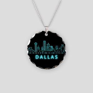 Digital Cityscape: Dallas, T Necklace Circle Charm