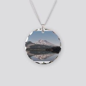 South Sister and Sparks Lake Necklace Circle Charm