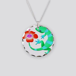 Blue and Green Jungle Lizard Necklace Circle Charm