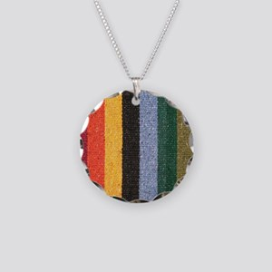 Striped Necklace Circle Charm