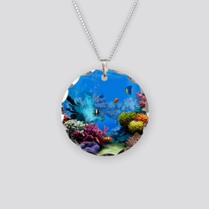 Tropical Fish Aquarium with  Necklace Circle Charm