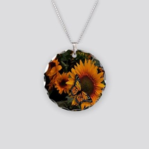 Sunflower Radiance Monarch Butterfly Necklace Circ