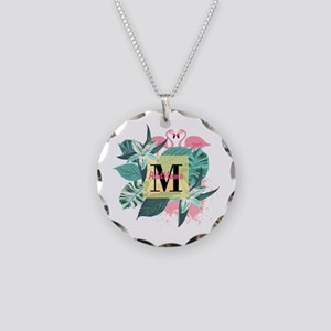 Personalized Flamingo Monogr Necklace Circle Charm
