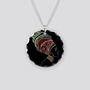 African Woman Necklace Circle Charm