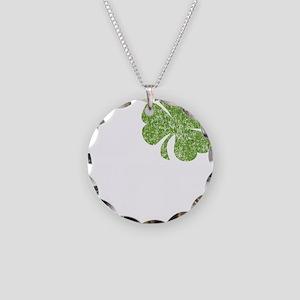 love_shamrock_white Necklace Circle Charm