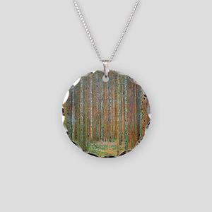 Gustav Klimt Pine Forest Necklace Circle Charm