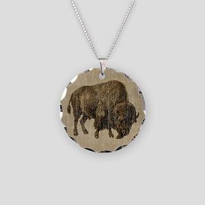 Vintage Bison Necklace Circle Charm