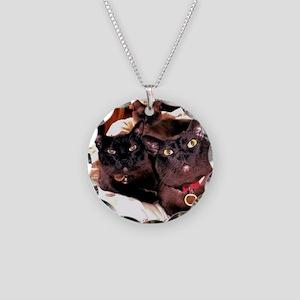 Three Cats Necklace Circle Charm