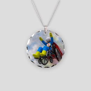 Wheelchair Superhero in Flig Necklace Circle Charm