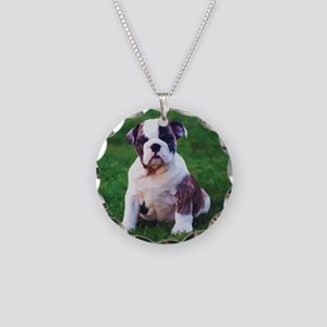 Bulldog Necklace Circle Charm
