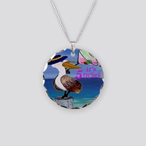 Its 5 OClock Martini Pelican Necklace Circle Charm