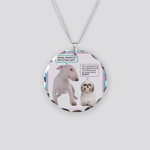 Dog humor Necklace Circle Charm