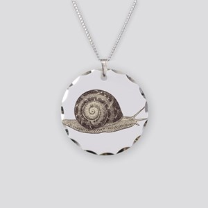 Hand painted animal snail Necklace Circle Charm