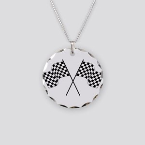 racing car flags Necklace Circle Charm