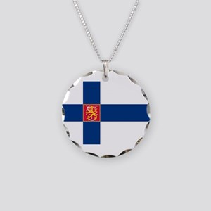 State Flag of Finland Necklace Circle Charm