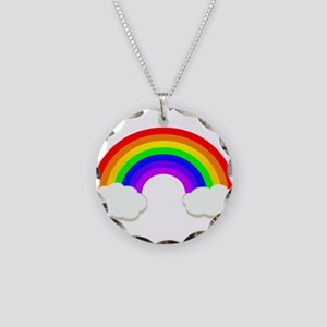 Rainbow in the clouds Necklace Circle Charm