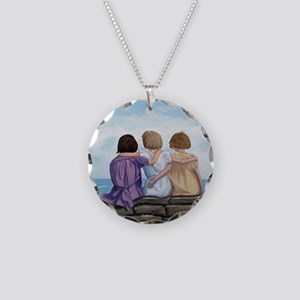 Sisters Necklace Circle Charm