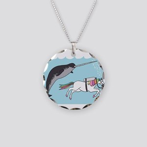 Narwhal Swimming With Unicor Necklace Circle Charm