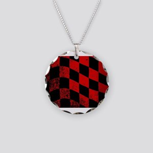 Dirty Chequered Flag Necklace Circle Charm