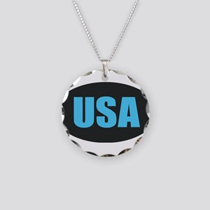 USA Necklace Circle Charm