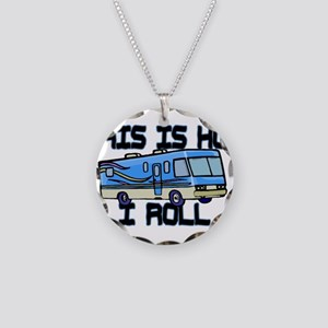 How I Roll RV Necklace Circle Charm