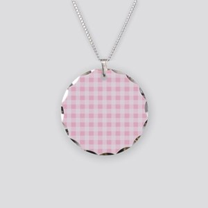 Pink Gingham Checkered Patte Necklace Circle Charm