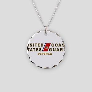 USCG Veteran Necklace Circle Charm